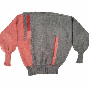 Hand knit grey and pink sweater